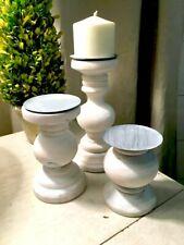 White Washed Turned Wood Candleholders