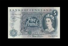 "1966-70 BANK OF ENGLAND QEII 5 POUNDS **Fforde** ""A"" (( GEM UNC ))"