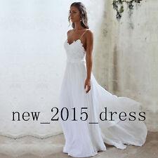 White Spaghetti strap Beach Wedding Dresses Backless Chiffon Formal Bridal Gown