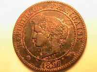1897-A FRANCE 5 Cent Ch AU R&B Toned French Ceres Head Five Centime Bronze Coin