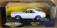 1/18 ERTL AMERICAN MUSCLE 1969 AMC AMX WHITE with BLUE STRIPES gd