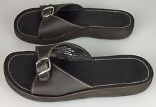 e92233d3a27 Women s Eddie Bauer Size 6 M Slides Sandals Brown Leather Buckle 20-1468