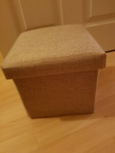 Small Beige Folding Storage Pouffe Seat Foot Stool Storage Box