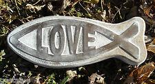 Plastic love religious fish mold concrete plaster casting mould
