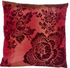 Red Cushion Cover Floral Flock Printed Silk Fabric Decorative Osborne & Little