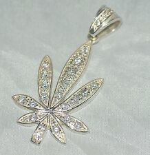 The Leaf Necklace Pendant [ 925 Sterling Silver & Cubic Zirconia ]