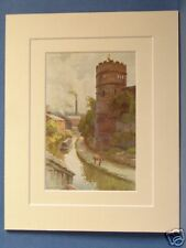 PHOENIX TOWER AND CANAL CHESTER VINTAGE DOUBLE MOUNTED HASLEHUST PRINT 10X8 RARE