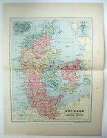 Original 1895 Map of Denmark by W & A.K. Johnston. Antique