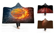 Novelty Gift Basketball Fire Flame Winter Warm Fleece Hooded Blanket Sofa Throw