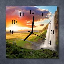 Glass Wall Clock Kitchen Clocks 30x30 cm silent Waterfall Green