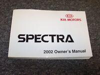2002 Kia Spectra Sedan Owner Owner's User Guide Manual Book GS GSX LS 1.8L