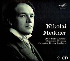 NIKOLAEVA, SCHATZKES, SVETLANOV. Medtner Piano Concertos 1&2, Sonatas 2CD, New M