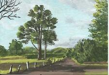 """Aceo original acrylic painting """"Lazy Day Country Road"""" by J. Hutson"""