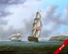 BRITISH SHIPS AT PLYMOUTH SOUND SEASCAPE OCEAN PAINTING ART REAL CANVAS PRINT