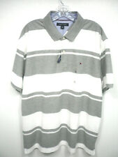 New Tommy Hilfiger Men's XL Short Sleeve Striped Gray White Polo Shirt