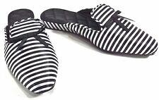 Luxe Me Now Black White L'Avenue Satin Luxury Slippers Memory Foam LMN Sz 10 NEW