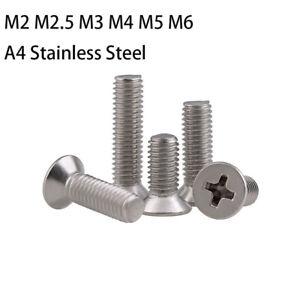 M2 M2.5 M3 M4 M5 M6 Pozi Countersunk Flat Head Machine Screws A4 Stainless Steel