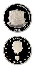 Ghana Phoenician Navigators 1200 BC 500 Sika 2002 Proof Silver Crown