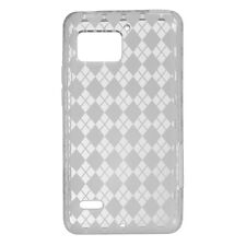 For Verizon Motorola Droid Bionic TPU Candy FLEXI Skin Case Cover Clear Plaid