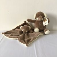 B&M Brown Elli Elephant Baby Comforter Blankie Doudou and Soft Toy Bundle