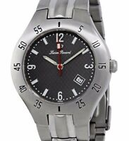 LUCIEN PICCARD GREY DIAL SWISS MADE MEN'S STAINLESS STEEL DATE WATCH 26459. NEW