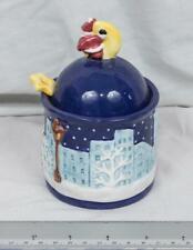 Vintage Noritake Santa Claus Sugar Bowl / Jar with Lid and Spoon mjb