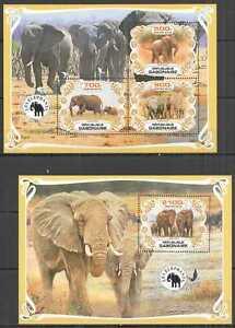 PA0021 2019 GABON ELEPHANTS FAUNA WILD ANIMALS BL+KB MNH