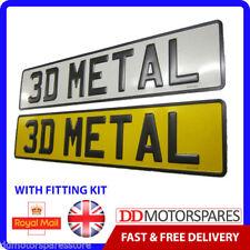 2 x METAL PRESSED 3D EMBOSSED ROAD LEGAL CAR NUMBER PLATES REGISTRATION NO GB