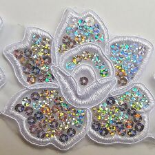 4PCS Sequined White Floral Embroidery Applique Motif Lace Sewing Trim EB0298