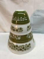 VINTAGE PYREX GREEN CRAZY DAISY NESTING MIXING BOWLS SET OF 4 (NICE)