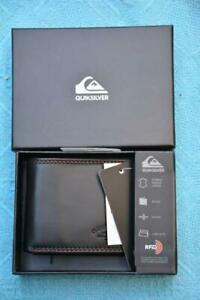 QUIKSILVER Bi Fold Macbro Men's BLACK LEATHER Wallet. New.rrp $39.99 Slim Line