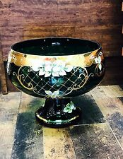 CZECH BOHEMIAN GLASS Green  with GOLD HANDPAINTED FLOWERS 9.5 Inch High