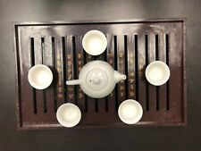 CHINESE  Ceramic Kung Fu Tea Set  5 Cups With Tea Pot and Tea Tray + Gift