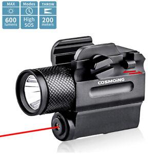 Jagd 600 Lumen Einstellbar Rot Laser Pistole Licht Visier LED Taschenlampe Combo