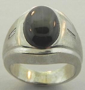 MENS 14K WHITE GOLD BLACK SAPPHIRE DIAMOND RING SIZE 5 1/4
