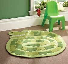 Children Kid Soft Rug in Green Crocodile Design Carpet 90 x 90 cm (3' x 3')