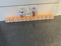 Vintage Current Happy Thanksgiving Blocks with Boy & Girl Pilgrims