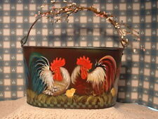 Metal Pail With Six Roosters A Hen And Chicks Hand Painted Folk Art