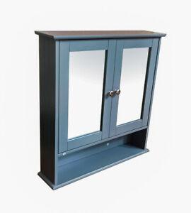 Grey Double Door Mirror With Shelf Bathroom Cabinet  -G-0311
