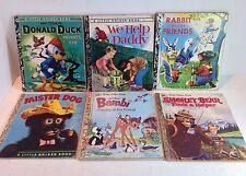 Bulk Lot 6 Little Golden Books, Mid 1970's, Bambi, Mister Dog, Donald Duck (1908