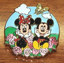 Disneyland Hong Kong Mickey & Minnie Mouse in Bed of Pink Roses Collectible Pin!