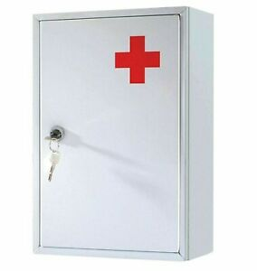 METAL WHITE CABINET STEEL LOCKING MEDICINE DRUGS UPBOARD STORAGE FIRST AID