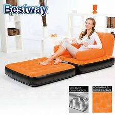 Bestway Inflatable 2 in 1 Multi-functional Couch Sofa Chair Air Bed Single Orang