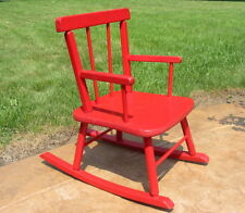 Vtg Antique Wood Wooden Painted Red Rocking Chair Kid Child Toy Small Old Small