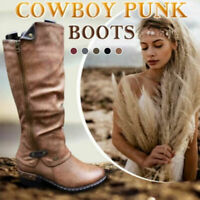 Women's Western Cowboy Knee High Boots Punk Low Thick Heel Side Zipper Shoes