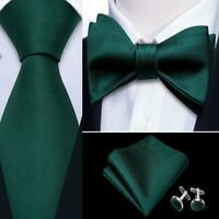 Men's Solid Dark Green Tie Self Tie Bowtie Set 100% Silk Wedding Party USA