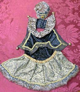 Mark Roberts Collection Fur & Velvet Gold Trim Dog Costume w/ Brass Bells Large