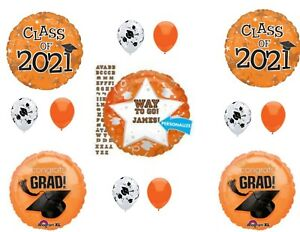 PERSONALIZE! CLASS OF 2021 Orange Graduation Party Balloons Decoration Supplies