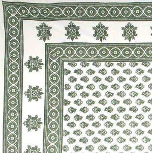 Handmade 100% Cotton Monotone Buti Floral Tapestry Tablecloth Spread Twin Green
