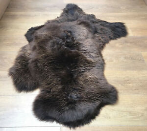 Brown non Dyed Real Sheepskin Large 100-110cm Soft Thick Wool Area Rug Real Fur